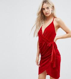 Бархатное платье Boohoo Petite - Красный