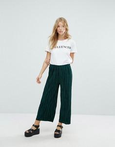Укороченные брюки плиссе New Look - Зеленый