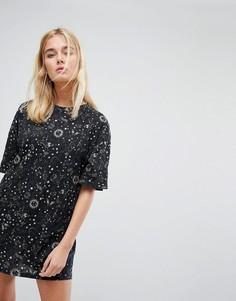 Свободное платье-рубашка с принтом Motel - Черный