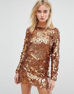 Платье мини с пайетками Motel - Медный