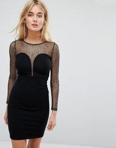 Облегающее платье с глубоким вырезом и сетчатой вставкой Motel - Черный