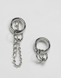 Серьги-кольца с цепочками Monki - Серебряный