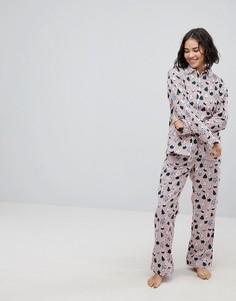Пижамный комплект в новогоднем стиле Monki - Красный