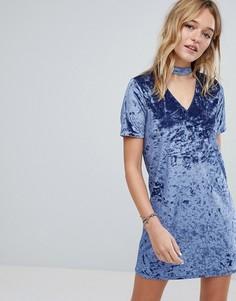 Платье из мятого бархата с лентой на шее Hollister - Синий