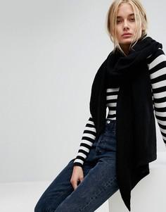 Oversize-шарф в рубчик Pieces - Черный