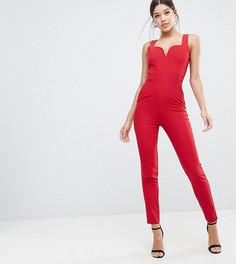 Комбинезон с глубоким вырезом сердечком Vesper - Красный