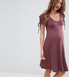Трикотажное платье с пышными рукавами New Look Maternity - Фиолетовый
