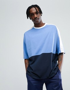 Оверсайз-футболка в стиле колор блок ASOS - Синий