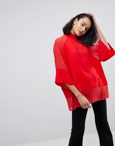 Однотонная свободная футболка с прозрачными вставками ASOS - Красный