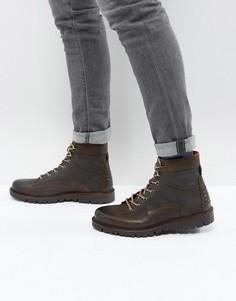 Коричневые кожаные ботинки на шнуровке River Island - Зеленый