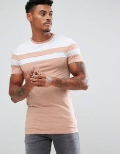 Удлиненная обтягивающая футболка с контрастными вставками ASOS - Синий