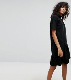 Платье с высоким воротником и асимметричной оборкой Noisy May - Черный