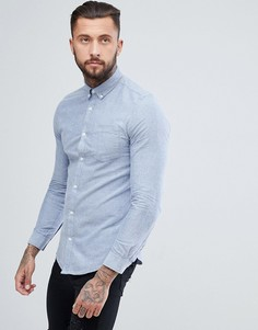 Голубая оксфордская рубашка зауженного кроя River Island - Синий