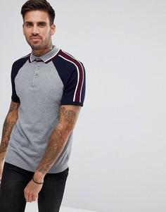 Серая зауженная футболка-поло с рукавами колор блок River Island - Серый