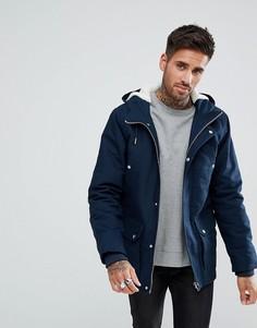 Темно-синяя куртка с подкладкой из искусственного меха River Island - Темно-синий