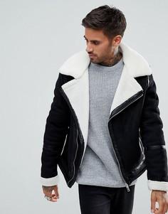 Черная куртка с подкладкой из искусственного меха River Island - Черный