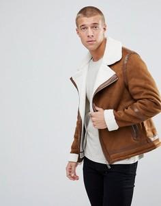 Светло-коричневая куртка с подкладкой из искусственного меха River Island - Рыжий