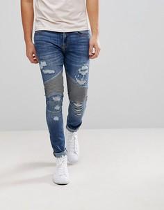 Байкерские джинсы скинни River Island - Синий