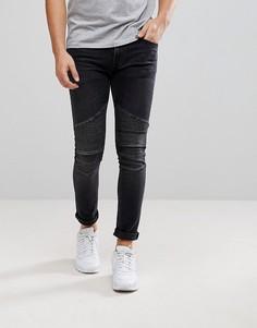 Черные байкерские джинсы скинни River Island - Черный