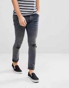 Темно-синие зауженные джинсы с рваными коленями River Island - Синий