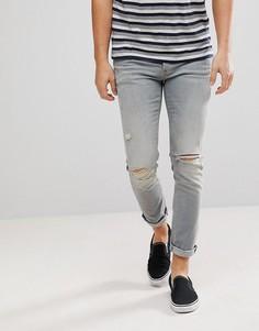 Светло-серые рваные джинсы скинни River Island - Синий