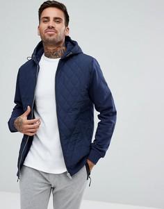 Темно-синяя стеганая куртка с капюшоном River Island - Темно-синий