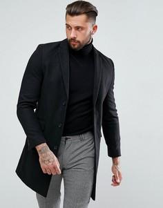 Черное однобортное пальто New Look - Черный