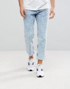Синие мраморные джинсы свободного кроя New Look - Синий