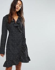 Платье с запахом в горошек Vila - Черный