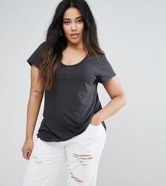 Трикотажная футболка с овальным вырезом River Island Plus - Черный