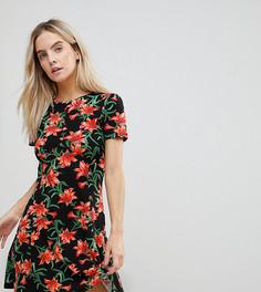 Чайное платье мини с цветочным принтом ASOS PETITE Ultimate - Мульти