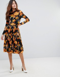 Сетчатое платье миди с цветочным принтом Y.A.S - Мульти