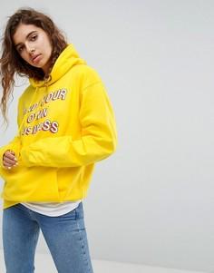 Худи оверсайз с принтом Mind Your Own Business Adolescent Clothing - Желтый