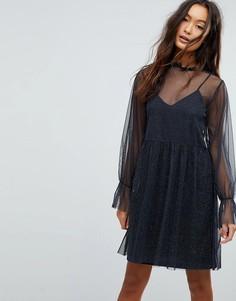 Полупрозрачное платье с блестками Vila - Темно-синий