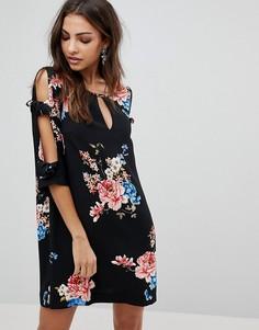 Свободное платье с цветочным принтом и завязками на рукавах River Island - Мульти