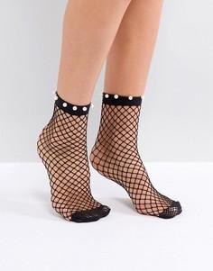 Сетчатые носки с отделкой искусственным жемчугом River Island - Черный
