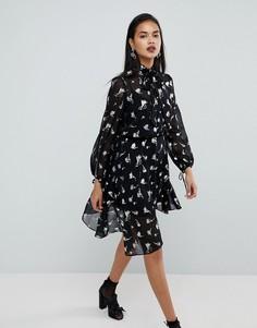 Асимметричное платье с блестящим принтом River Island - Мульти