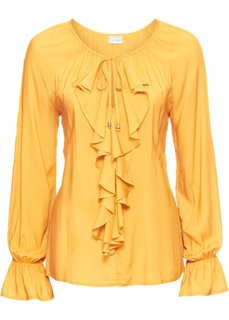 Блузка с воланами (лимонный карри) Bonprix