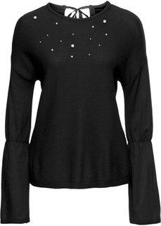 Пуловер с бусинами (черный) Bonprix