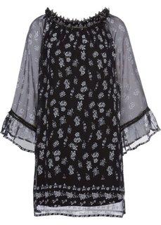Платье с широким рукавом (черный с рисунком) Bonprix