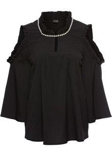 Блузка с бисером (черный) Bonprix