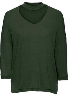 Вязаная футболка с чокером (темно-оливковый) Bonprix