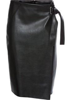 Юбка из искусственной кожи с запахом (черный) Bonprix