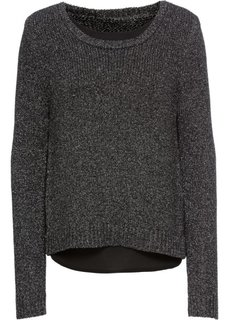 Пуловер вязаный с шифоновой вставкой (черный/серебристый меланж) Bonprix