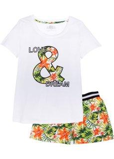 Пижама с шортами из биохлопка (белый в цветочек) Bonprix