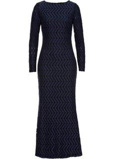 Длинное кружевное платье (синий) Bonprix