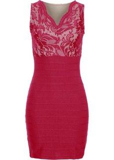 Платье с кружевной вставкой (темно-красный) Bonprix