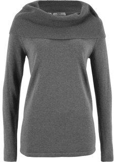 Пуловер с длинными рукавами (серый меланж) Bonprix