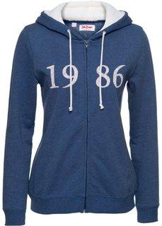 Трикотажная куртка с плюшевым капюшоном (генцианово-синий) Bonprix