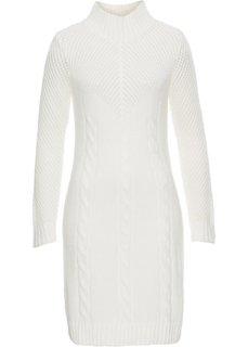 Вязаное платье с воротником (белый) Bonprix
